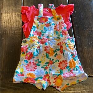 Floral summer Overall set. 12 mo. Carters